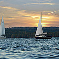 Sailing At Sunset by Steven Michael