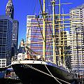 Sailing Boat Anchored In South Street Seaport 1984 by Gordon James