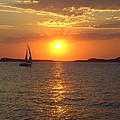 Sailing Boat In Ibiza Sunset by Steve Kearns