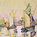 Sailing Boats At Les Sables D Olonne  by Paul Signac