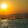 Sailing Boats On Sea At Sunset  by Ioan Panaite