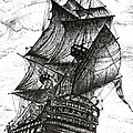 Sailing Drawing Pen And Ink In Black And White by Mario Perez