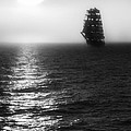 Sailing Out Of The Fog - Black And White by Jason Politte