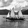 Sailing Ship Black And White by Girish J