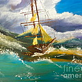 Sailing Ship In A Storm by Pamela  Meredith