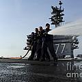 Sailors Conduct Hose Team Training by Stocktrek Images
