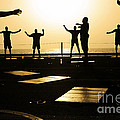 Sailors Exercise In The Hangar Bay by Stocktrek Images