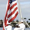 Sailors Hoist The American Flag by Stocktrek Images