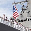 Sailors Man The Rails Aboard Uss by Stocktrek Images