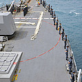Sailors Man The Rails On Uss Mccampbell by Stocktrek Images