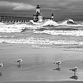 Saint Joseph Michigan Lighthouses Stormy Day At Silver Beach I Bw by Sally Rockefeller