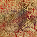 Saint Louis Missouri Street Map Schematic Watercolor On Old Parchment From 1903 by Design Turnpike