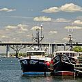 Sakonnet Bridge With Tugboats by Nancy De Flon