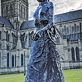 Salisbury Cathedral And The Walking Madonna 2 by Linsey Williams
