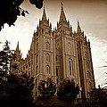 Salt Lake City Lds Temple Sepia by Nathan Abbott
