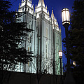 Salt Lake Mormon Temple At Night by Gary Whitton