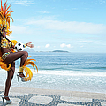 Samba Queen Playing Soccer On The Beach by Emmanuel Aguirre