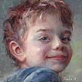 Sammy In Blue - Portrait Of A Boy by Talya Johnson