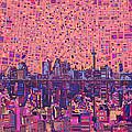 San Antonio Skyline Abstract 5 by Bekim Art