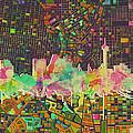 San Antonio Skyline Watercolor 5 by Bekim Art