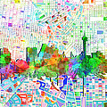 San Antonio Skyline Watercolor 6 by Bekim Art