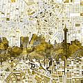 San Antonio Skyline Watercolor 7 by Bekim Art