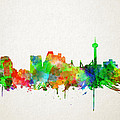 San Antonio Skyline Watercolor by Bekim Art