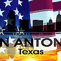 San Antonio Tx Patriotic Large Cityscape by Angelina Tamez