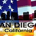 San Diego Ca Patriotic Large Cityscape by Angelina Tamez