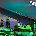 San Diego California Skyline Watercolor by Marvin Blaine