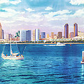 San Diego Skyline And Convention Ctr by Mary Helmreich