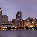 San Diego Skyline At Dusk Panoramic by Adam Romanowicz