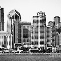 San Diego Skyline In Black And White by Paul Velgos