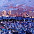 San Diego Skyline With Marina At Dusk by M Bleichner
