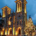 San Fernando Cathedral And Christmas Tree Main Plaza - San Antonio Texas by Silvio Ligutti