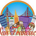 San Francisco Abstract Skyline Golden Gate Bridge Illustration by Jit Lim