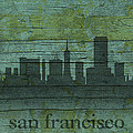 San Francisco California Skyline Silhouette Distressed On Worn Peeling Wood by Design Turnpike