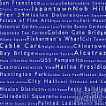 San Francisco In Words Blue by Sabine Jacobs