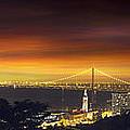 San Francisco Oakland Bay Bridge At Sunset by Jit Lim