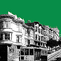 San Francisco Skyline Cable Car 2 - Forest Green by DB Artist