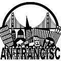 San Francisco Skyline Golden Gate Bridge Black And White Illustr by Jit Lim