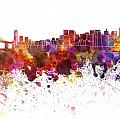 San Francisco Skyline In Watercolor On White Background by Pablo Romero