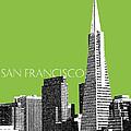 San Francisco Skyline Transamerica Pyramid Building - Olive by DB Artist