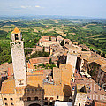 San Gimignano From The Top Of A Tower by Matteo Colombo