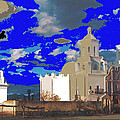 San Xavier Mission Brooding Clouds Post Card Ray Manley  Photo No Date-2013  by David Lee Guss