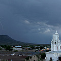 San Xavier Mission With Lightning by J L Woody Wooden