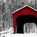 Sandy Creek Cover Bridge With A Touch Of Red by Peggy Franz