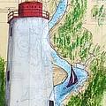Sandy Hook Lighthouse Nj Chart Map Art Peek by Cathy Peek