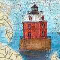 Sandy Pt Shoals Lighthouse Md Nautical Chart Map Art Cathy Peek by Cathy Peek