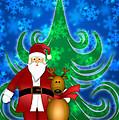 Santa And Reindeer In Winter Snow Scene by Jit Lim